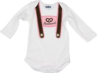 Eisenherz Baby Body Langarm rosa Spatzerl und Breze mit Hosenträger Applikation in Verschiedenen Größen