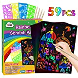 ZMLM Scratch Paper Art Set: 59Pcs Magic Drawing Art Craft Kid Black Scratch off Paper Supply Kit Toddler Preschool Learning Bulk Toy for Age 3 4 5 6 7 8 9 10 Girl Boy Holiday Party Favor Birthday Gift