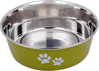 Naaz Pet Supplies Export Quality Heavy 100% Food Safe Silicone Rubber Base Stainless Steel Bone/Paw Bowl for Feeding Dogs ...