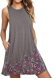 Sherostore ♡ Women's Long Sleeve Bohemian Summer Floral Casual Swing T-Shirt Dress Ethnic Style Shift Dress Plus Size