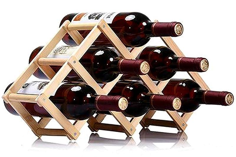 ずっとダブルスラッシュW22 選べるサイズ 折りたたみ式 ワインラック 木製 ホルダー ワイン シャンパン ボトル 収納 ケース スタンド インテリア (6本収納)