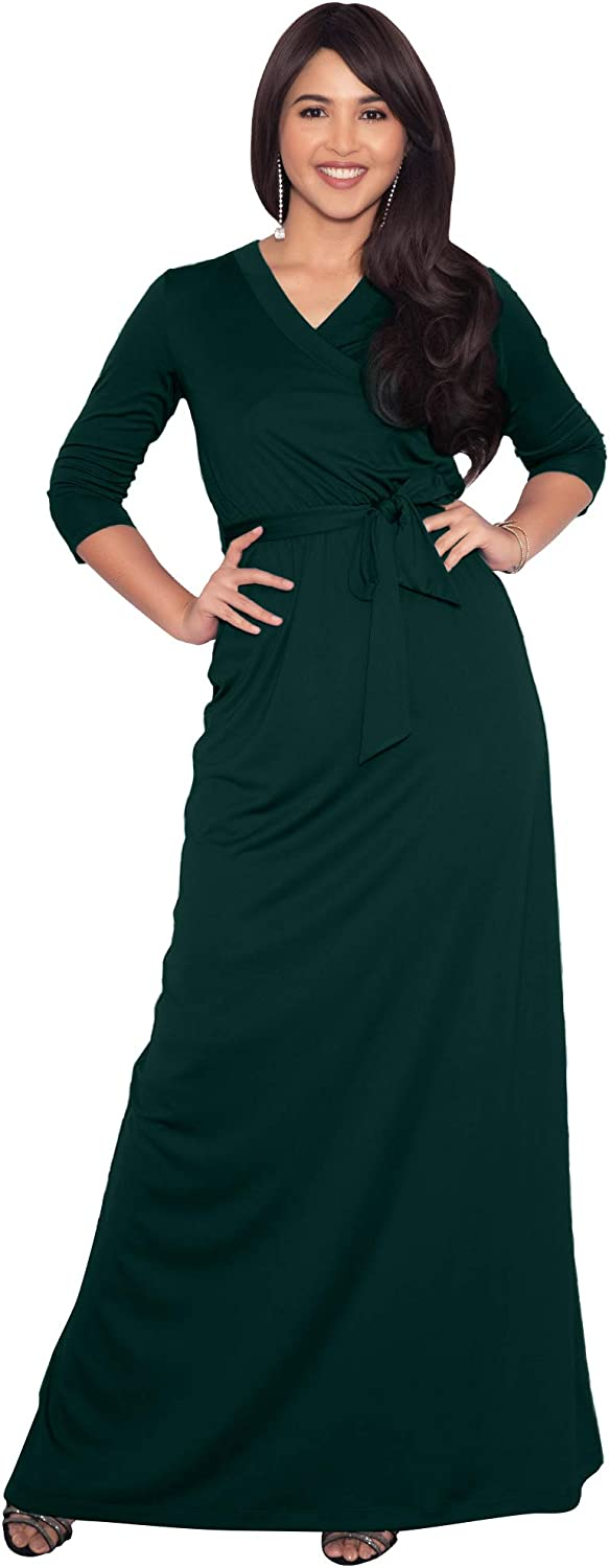 KOH KOH Womens Long Sleeve Casual Cocktail Flowy V-Neck Gown Maxi Dress