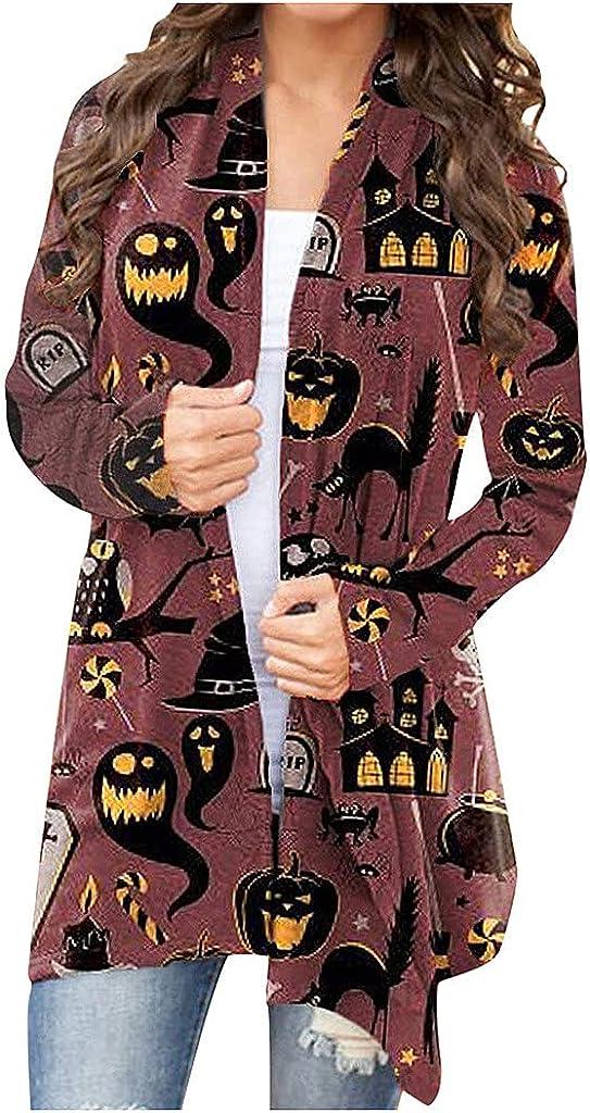 UOCUFY Cardigan for Women, Womens Halloween Coat Long Sleeve Open Front Funny Cute Pumpkin Black Cat Ghost Lightweight