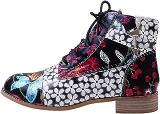 Bottes Moto Femme Talon Compensé Bottines A Lacets Escarpins Talon Moyen Tendance Ankle Boots Automne Hiver Bottines Peint...