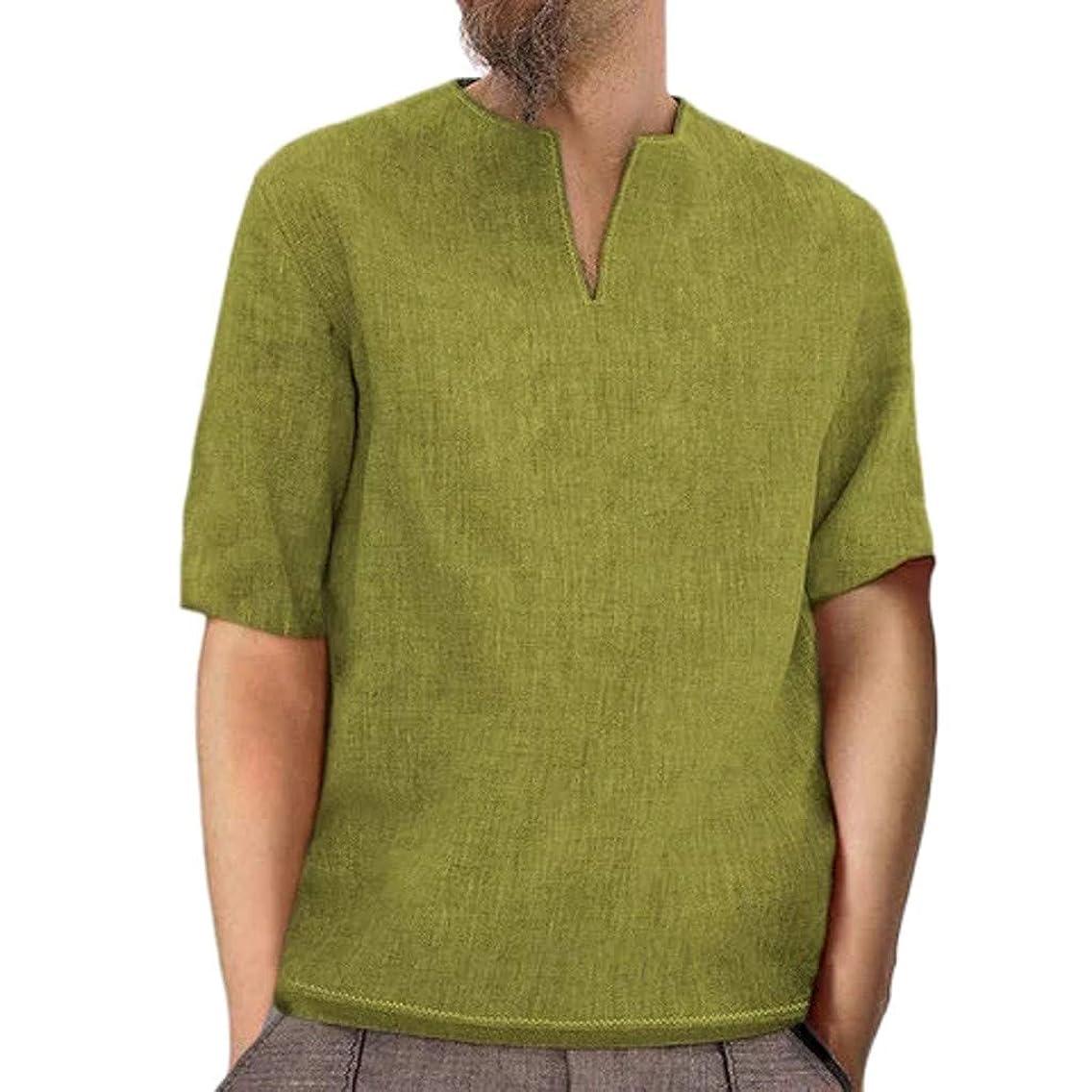 Goldweather Men Short Sleeve T Shirt Casual Summer Retro Cotton Linen V Neck Hippie Shirts Workout Fitness Beach Yoga Blouse Top