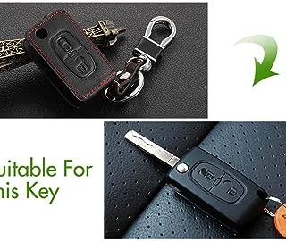 Fold Key Black Genuine Leather Car Key Cover for Peugeot RCZ 206 207 307 407 308 508 for Citroen C2 C3 C4 C5 Quatre 2 Buttons Black