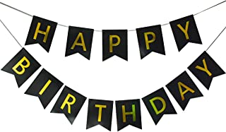 Lovely Black Happy Birthday Banner,Birthday Party Decorations and Supplies,with Shiny Gold Letters, Beautiful, Swallowtail Bunting Flag Garland