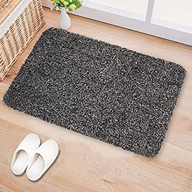 Indoor Doormat Super Absorbs Mud 18 x28  Latex Backing Non Slip Door Mat for Small Front Door Inside Floor Dirt Trapper Mats Cotton Entrance Rug Shoes Scraper Machine Washable Carpet Black White Fiber