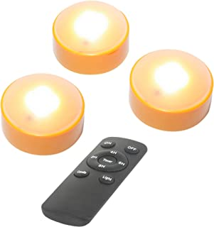 Battery Operated LED Pumpkin Lights with Remote and Timer Bright Realistic Flickering Decorative Plastic Flameless Electric Candles for Jack-O-Lantern Decor Halloween Party Holiday Decorations 3 Pack
