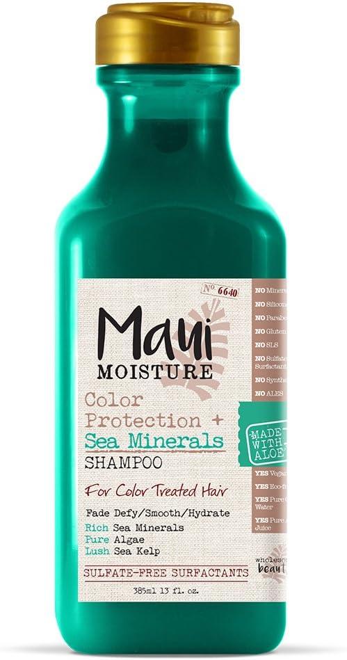شامبو ماوي للحماية من الرطوبة بالألوان + معادن البحر (13 أونصة)؛ يحمي خصلات الشعر المعالجة بالألوان مع معادن البحر الغنية والطحالب النقية وعشب البحر المورقة، غير معدلة وراثيًا