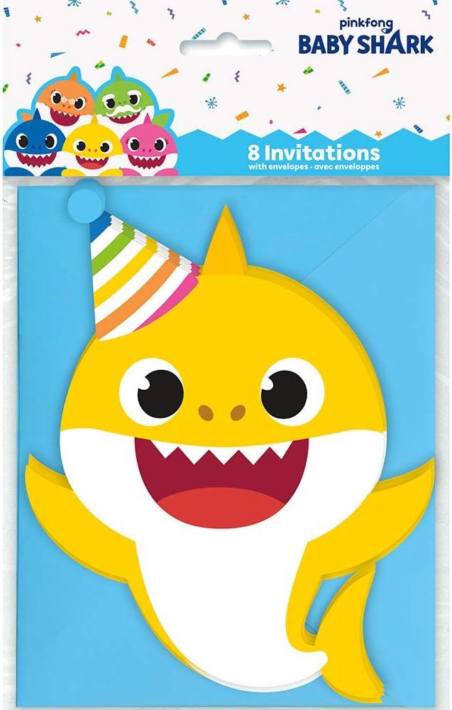 Baby Shark Large Invitations - 8 Pcs