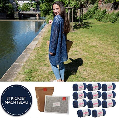MyOma Strickset Jacke - DIY Strickjacke Côte d'Azure- Strickjacke Strickset mit 11 Knäuel Baumwolle Cotton Pure + GRATIS Label + Strickanleitung – Strickpackung – Strickpaket – Strickset Jacke Damen