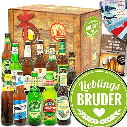 Lieblings-Bruder - 12 Biere Welt und DE - Geschenke Bruder