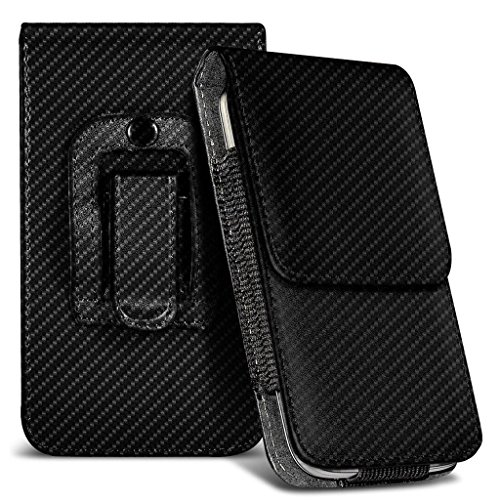 CAT S60 Holster Case - ( Carbon Fiber ) Universal Vertical Pouch Flip Belt Clip PU Leather Wallet Case Bag ( CAT S60 Custodia a fondina - ( in fibra di carbonio ) universale Custodia Verticale Flip Clip da cintura in pelle PU Custodia a portafoglio in borsa )