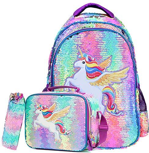 Backpack for Girls School Bag with Lunch Bag Magic Unicorn Reversible Sequin Bookbag for Elementary Backpacks