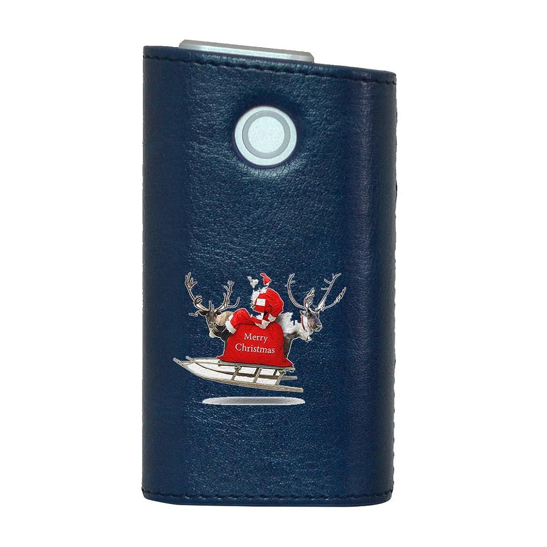 公演芽器用glo グロー グロウ 専用 レザーケース レザーカバー タバコ ケース カバー 合皮 ハードケース カバー 収納 デザイン 革 皮 BLUE ブルー クリスマス サンタ 写真 009971