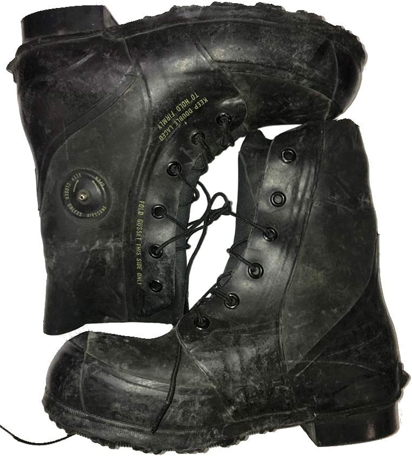 Combat Boot,Mickey Mouse Extreme Cold Weather Boots, Waterproof Rubber, Genuine U.S. Military Issue New Slightly Scuffed Black