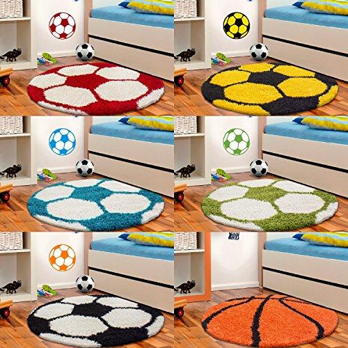 Unbekannt Kinderteppich Hochflor Fussball Basketball Rund Kinderzim. 100 cm und 120 cn Rund, Farbe:Marineblau, Größe:100 cm Rund