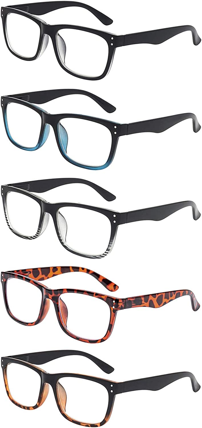 5 Pack Reading Glasses Classic Blocking Max 75% OFF Blue favorite Compute Light Frame