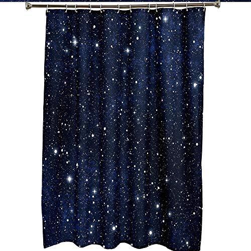 Duschvorhang Dunkelblauer Stern-Duschvorhang Antischimmel Waschbar Bad Vorhang Textil aus Polyester Stoff Wasserdischt für Eck Badewanne