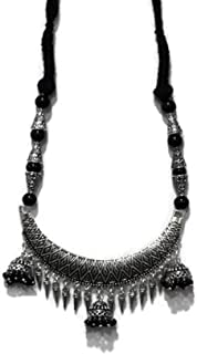 Designer Oxidized German Silver Necklace with colorful Beads and Thread Work | Pendent with Jhumki and Jhumka Earrings | f...
