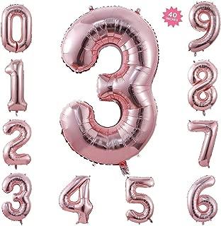 40 Inch Rose Gold Jumbo Digital Number Balloons 3 Huge Giant Balloons Foil Mylar Number Balloons for Birthday Party,Wedding, Bridal Shower Engagement Photo Shoot, Anniversary