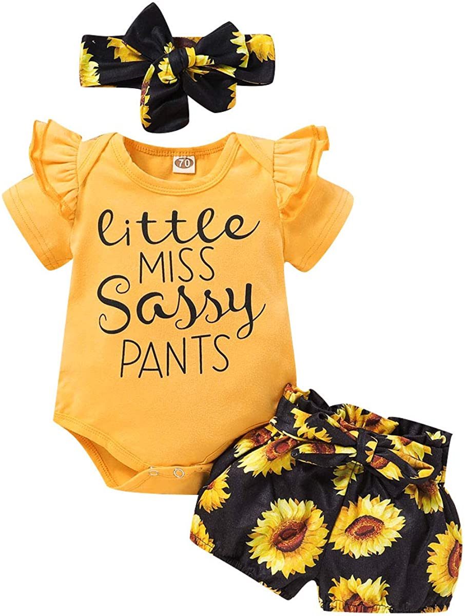 Newborn Baby Girl Summer Outfits Letter Short Sleeve Bodysuit Romper Tops Floral Shorts Pants 3 Piece Clothes