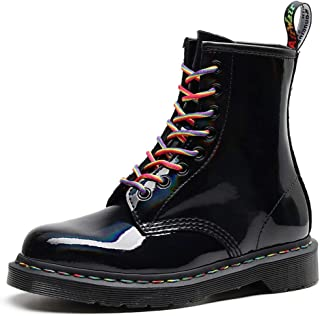 Dr. Martin unisex boots Rainbow patent leather boots British wind mirror gradient boots laser leather men and women boots trendy lace-up tooling boots (Color : Black, Size : 34)