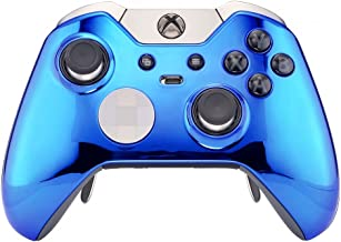eXtremeRate Custom Chrome Blue Replacement Front Shell for Xbox One Elite Controller