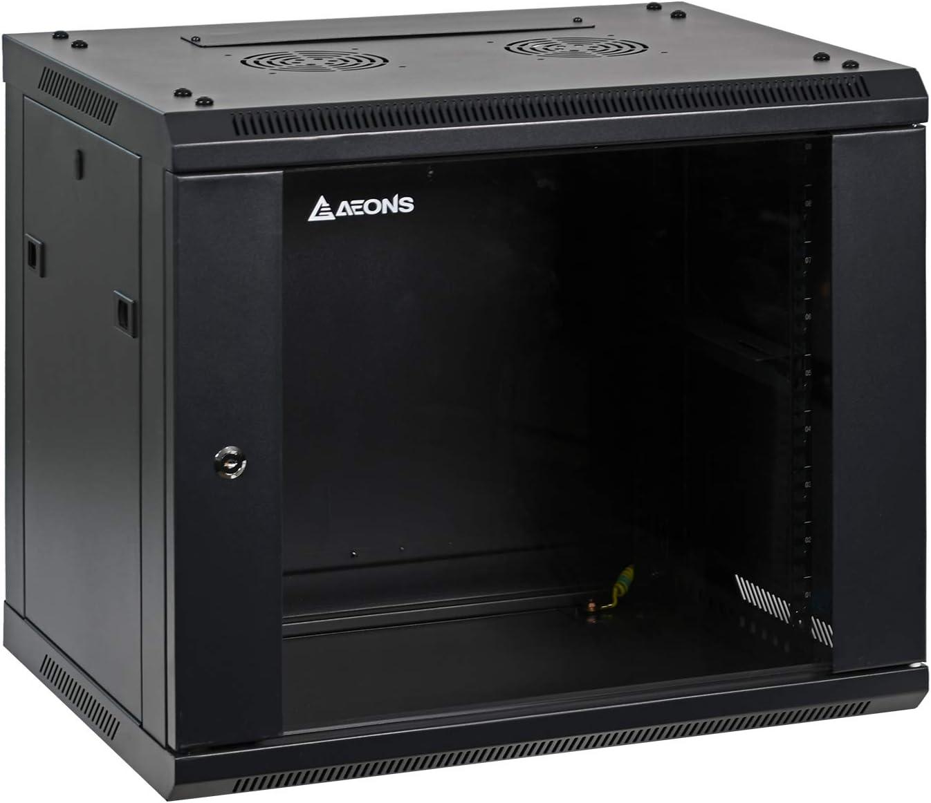 9U Professional Wall Mount Network Server Cabinet Enclosure 19-Inch Server Network Rack 16-Inches Deep Black