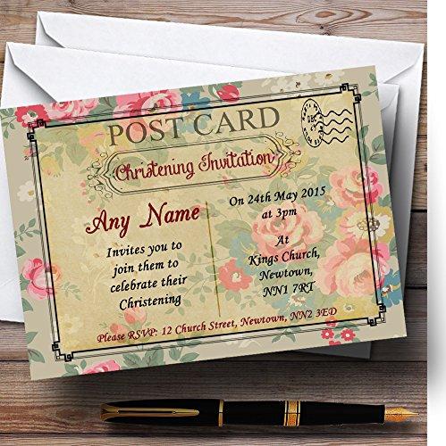 Christening nodigt Floral Vintage Paris Shabby Chic ansichtkaart doopfeest gepersonaliseerde uitnodigingen met enveloppen - elke aangepaste tekst voor elke gelegenheid 80 Cards & Envelopes