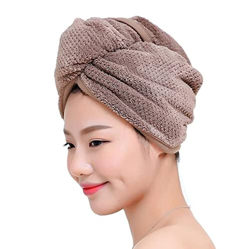 Fyore Ultra Absorbent Hair Turban Towel Quick Dry Anti Frizzy Microfiber Luxury Design for Women (Coffee)