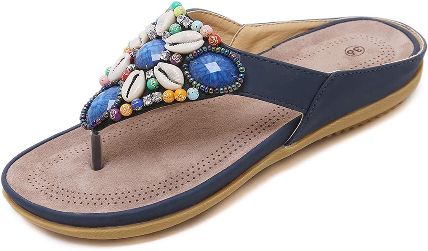 Navoku Womens Leather Jeweled Beaded Thong Flat Sandals Flip Flops