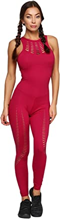90c01fcd715a CAJUBRASIL Brazilian Workout Jumpsuit 9067 Sexy Laser Cut One Piece Unitard  Romper Red