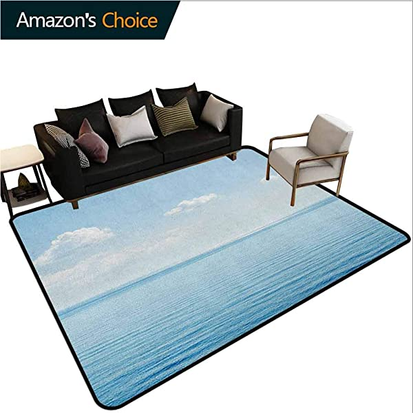 YucouHome Ocean Polka Dot Area Rug Non Slip Pad Aquatic Seascape With Sky Landscape In Tropical Lands Relaxation Spot In The Coast Fashionable High Class Living Bedroom Rugs 6 X 9 Blue White