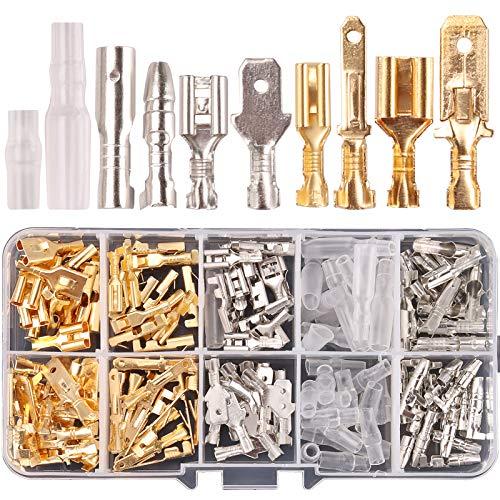 Kinstecks 150PCS 2.8mm 4.8mm 6.3mm Terminali a Crimpare Kit 3.9mm Kit di connettori per proiettili Maschio e femmina Cavo di giunzione rapida Morsetto a crimpare