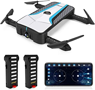FPV Drone with Camera, JJRC RC Drones with Follow Me Foldable Drone with Optical Flow Positioning Quadcopter with 2 Batteries in 20mins(10mins +10mins), Headless Mode for Adults and Beginners
