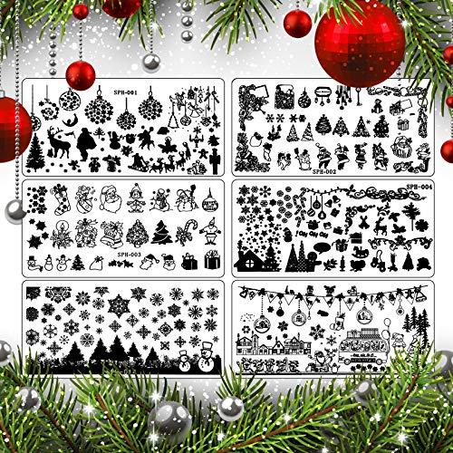6 Pezzi Piastra per Unghie Stampaggio Kit di Modelli di Timbratura di Immagini per Manicure Stampa Fai Da Te Design (Stile Natalizio)