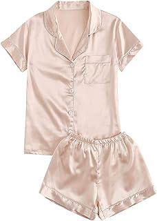 SweatyRocks Women's Short Sleeve Sleepwear Button Down Satin 2 Piece Pajama Set