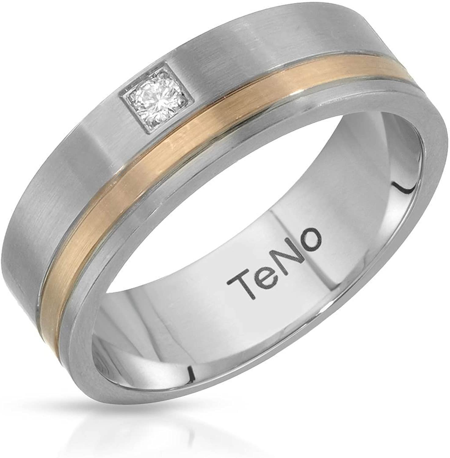 Teno Stainless Steel With Gold Inlay 0.04 CTW Color G, VS2 Diamond Band Ring.
