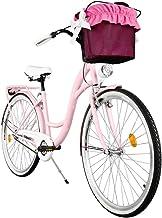 Milord. Comfort Fiets met mand, Nederlandse fiets, damesfiets, 3 versnellingen, roze, 28 inch