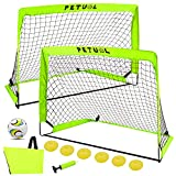Oceanblues Portable Soccer Goal Set, Folding Fluorescent Football Goals with Carry Case, Set of 2, Kids& Adults Backyard Training Goals Size 49x34inch