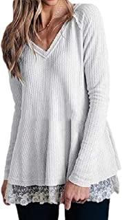 Womens Casual Lace Swing V Neck Tunic T Shirt Solid Blouse Tops