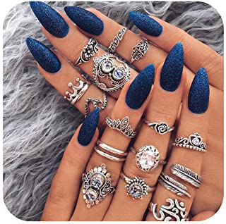 16-44 Pcs Vintage Womens Knuckle Rings for Girls Stackable Midi Joint Finger Ring Set Hollow Carved Flowers