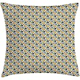 sherry-shop Housse de Coussin Hobby Throw Pillow, démonstration répétitive de Ballons de Sport Graphiques Tennis Badminton Handball, Blanc et Multicolore