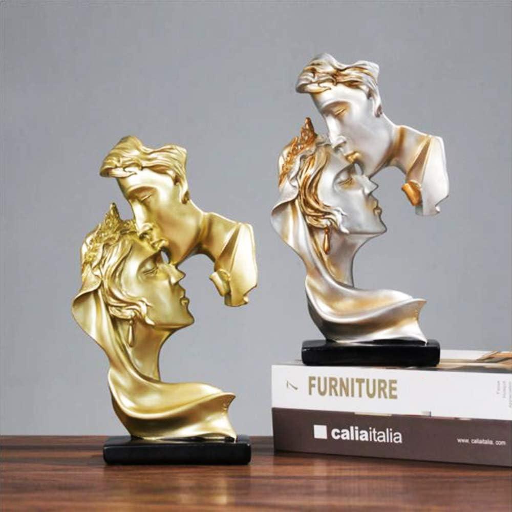 pour mariage art abstrait pour la maison d/écoration romantique cadeau argent YYCX Statue de couple cr/éatif baiser sculpture