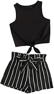 Romwe Girl's 2 Piece Outfit Tie Knot Tank Tops and Striped Paperbag Waist Shorts Set