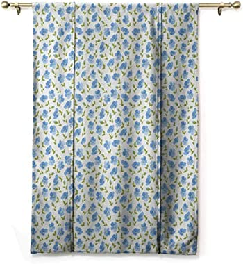 "Blackout Curtain Flower Bowknot Drapery Valance Panels Flower Pattern Feminine Nostalgic Art Greenland Natural Creative Design for Kitchen Bedroom Bathroom Windows Rod Pocket Panel, 48""W x 63""L"