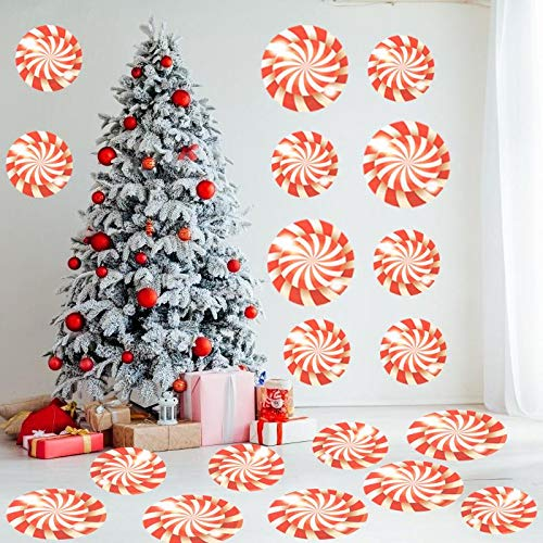 JETTINGBUY 30 Pieces Peppermint Cutouts Candy Wall Cut Outs Peppermint Candy Decals for Christmas Party Home Decoration Supplies,Wall Red and White Decals