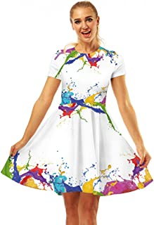 Women's Swing Dresses 3D Print Short Sleeve Casual Flared Midi Dresses